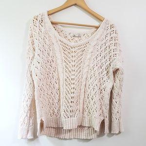 AEO   Crochet Layering Cotton Sweater